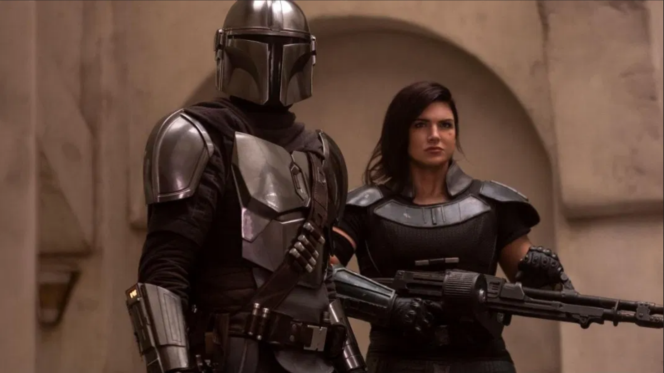 Pedro Pascal as The Mandalorian and Gina Carano as Cara Dune